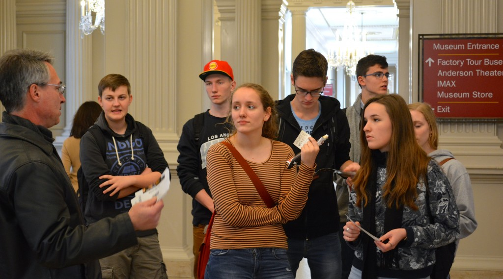 Andy Smith takes students through a tour of the Detroit Institute of Arts.