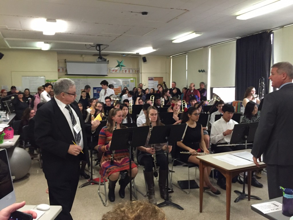 The Pioneer Wind Ensemble, just before they performed for the judge.