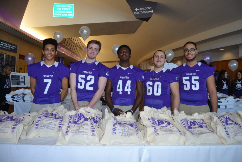 Brendan O'Bryant, second from left, said he was proud to represent Pioneer High at the banquet.
