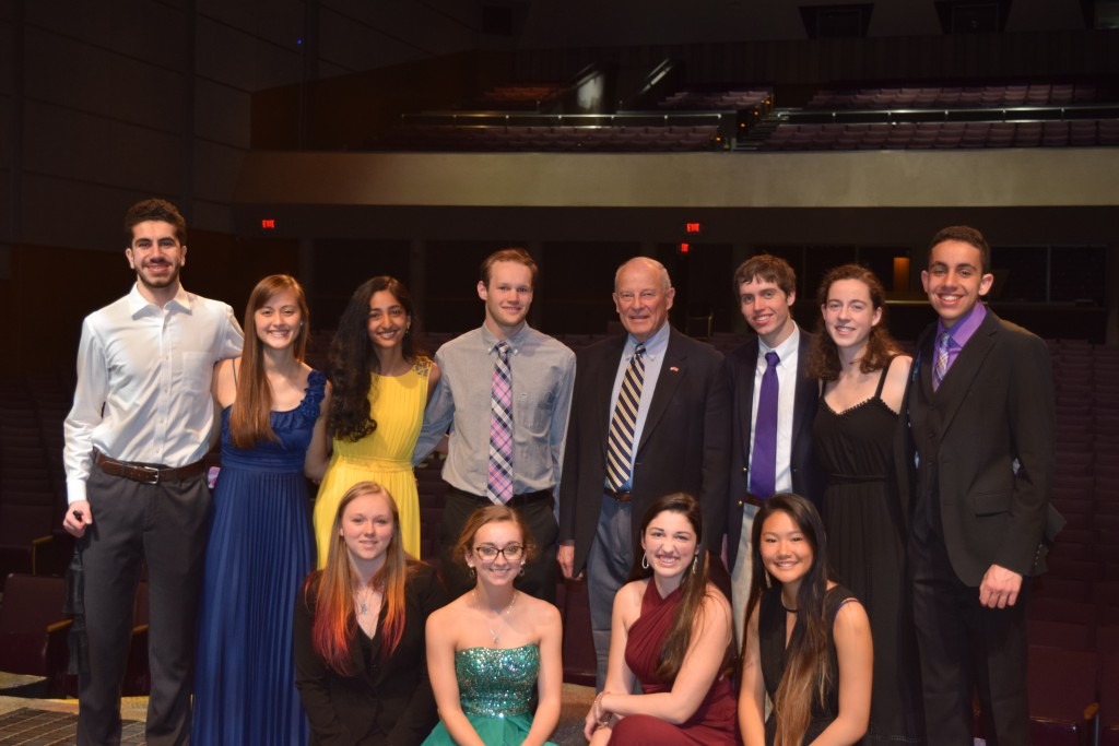 Jack Lousma and members of Pioneer High Schools student council's alumni committee.
