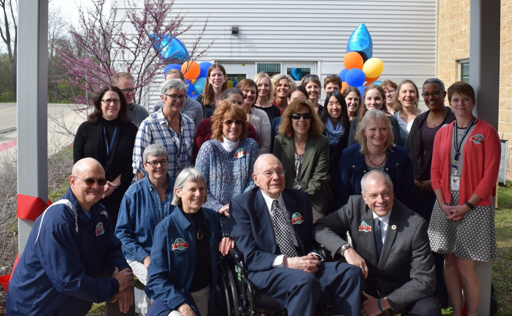 W. Scott Westerman, Jr. is joined by family and friends and the entire staff of the Preschool and Family Center as it's named in his honor.