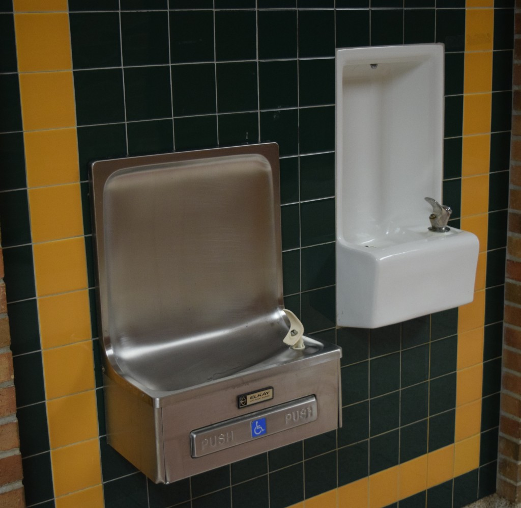 Two water fountains at Huron High School