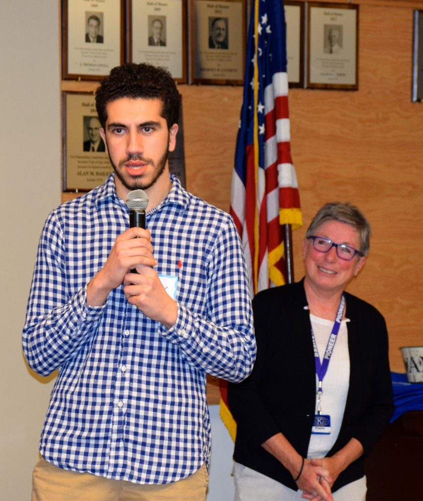 Claire Dahl, chair of the Kiwanis Scholarship Committee, listens as Pioneer senior Basil Baccouche accepts the Rev. Charles Memorial Scholarship.Photo by Jo Mathis. The Kiwanis Club of Ann Arbor was chartered in 1921 and is a major financial contributor to community non-profit organizations and a champion recycler of household items through its weekly Thrift Sale of reusable goods. Winners were chosen by their school counselors for their character, leadership, community service, academic performance, promotion of racial/ethnic understanding and