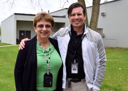 Gloria O'Neill and Deak look forward to A2 Unified Days next week at Huron High. Photo by Jo Mathis.