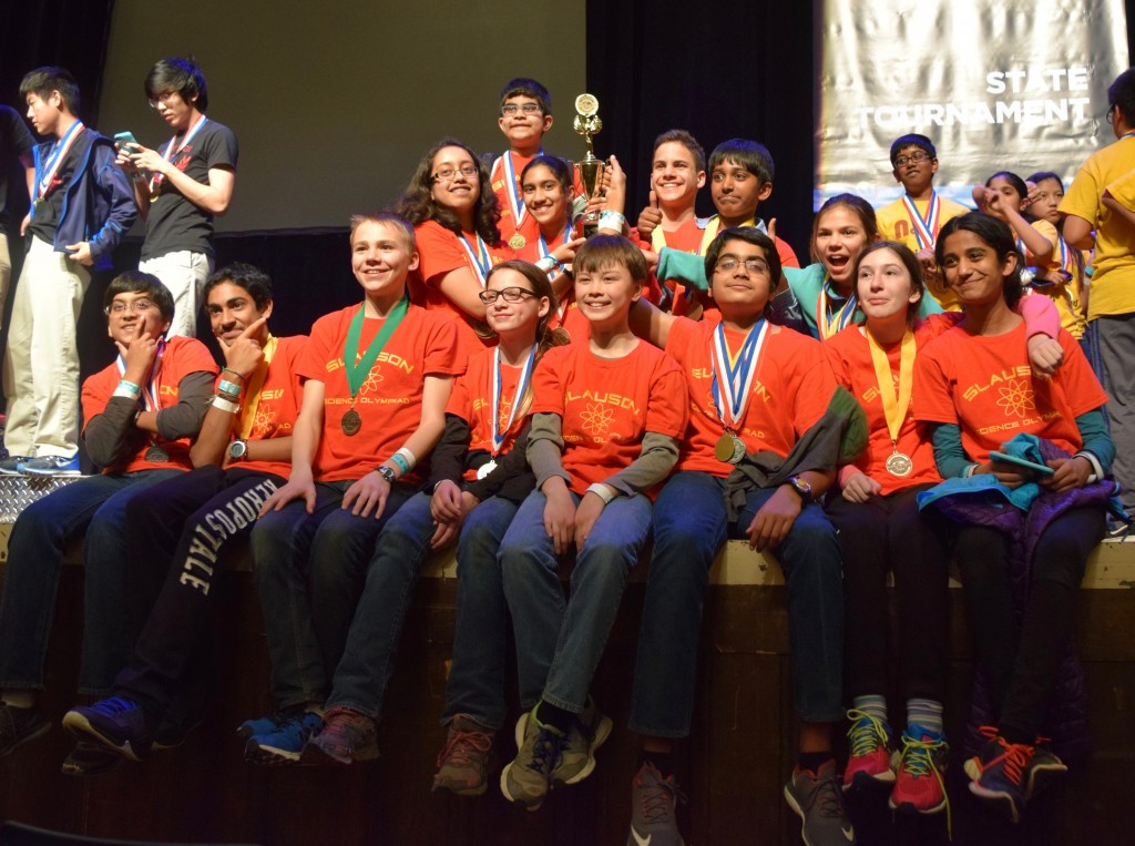 Members of the Slauson Science Olympiad team pose with their 3rd place trophy at MSU.