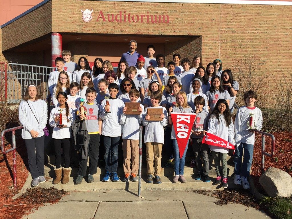 The seventh and eighth grade Thinking Cap Team at Forsythe Middle School placed ninth in the nation.