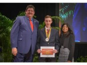 NASSP President Michael Allison and Latta Reddy, President, Prudential Foundation present Michigan High School honoree Trip Apley the Prudential Spirit of the Community Award at the Smithsonian Natural History Museum in Washington DC.