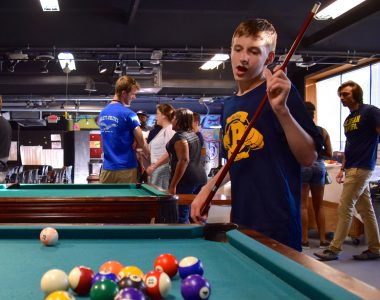Aidan Fulgenzi played billiards at the end of the night at the Neutral Zone.