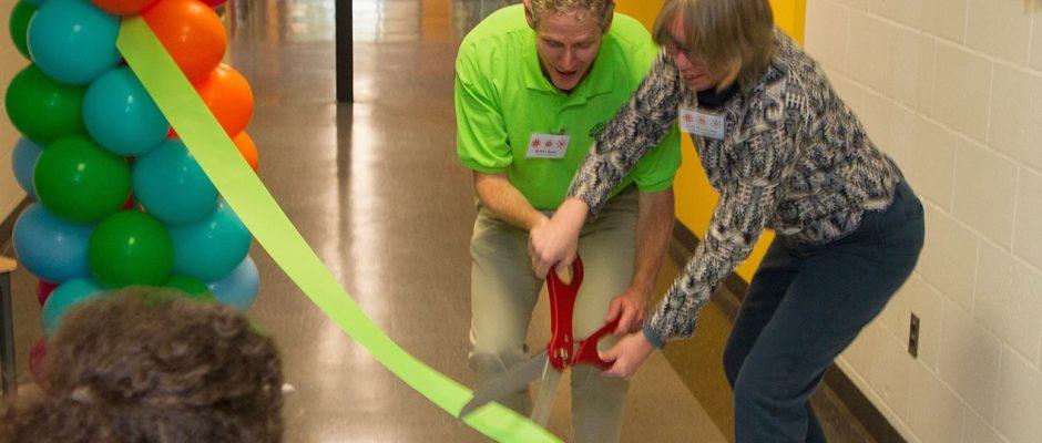 Ribbon cutting celebration at Mitchell Elementary, October 19, 2016.