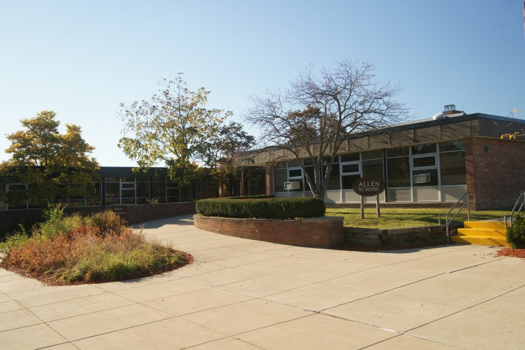 Exterior shot of Allen Elementary school on a sunny day