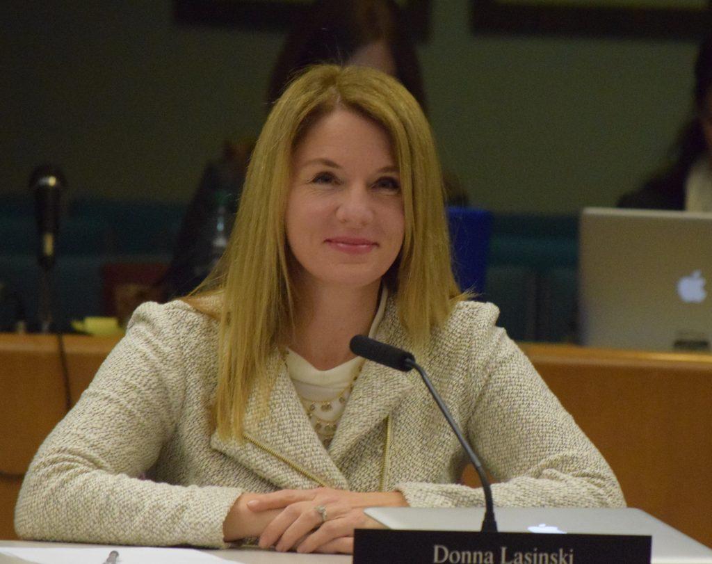 AAPS School Board member Donna Lasinski sitting at the board table