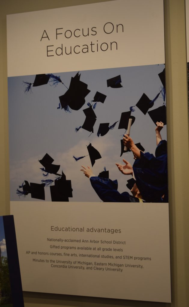 Poster of graduates throwing caps into the air with text highlighting Ann Arbor's educational opportunities.