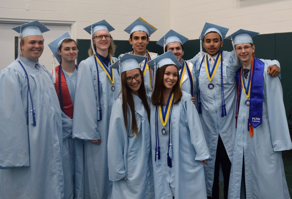 A group of Skyline seniors waiting before the Commencement Ceremony is to begin