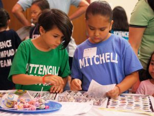Two second grade students one wearing a green Pattengill Elementary shirt and the other in a light blue Mitchell Elementary shirt