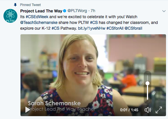 Photo of tweet from Project Lead the Way with a still shot of the opening of a video featuring AAPS teacher Sarah Schemanske