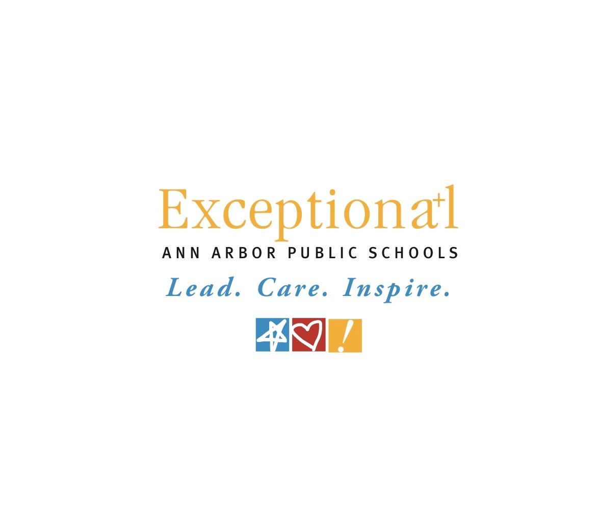 The Ann Arbor Public Schools logo....Exceptional Ann Arbor Public Schools, Lead. Care. Inspire.