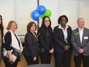 Teacher Pat Jenkins with representatives from the Ann Arbor Ypsilanti Regional Chamber and LaFontaine Automotive Group