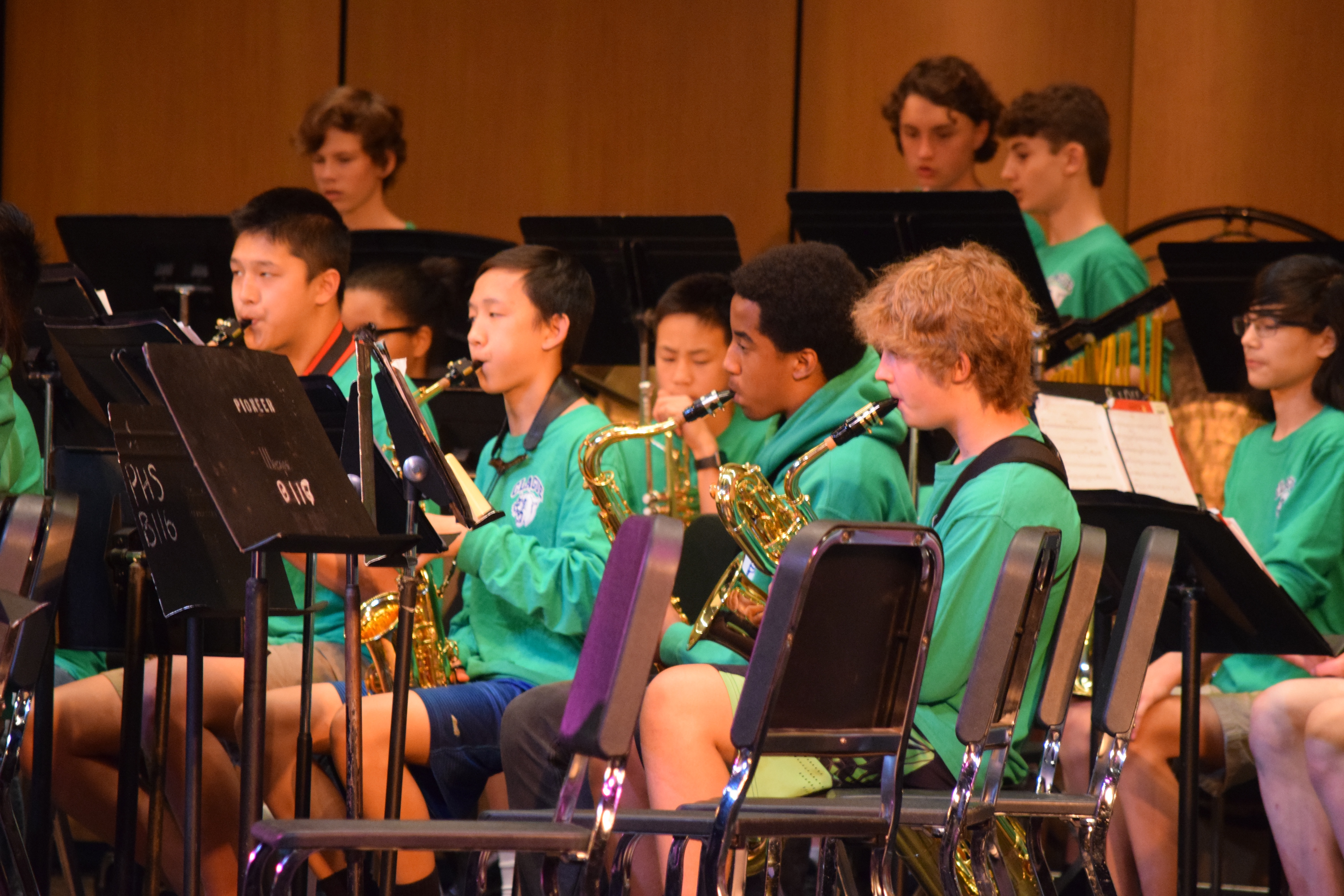 Members of Clague's band perform at the 2018 Picnic Pops inside the auditorium at Pioneer High School.