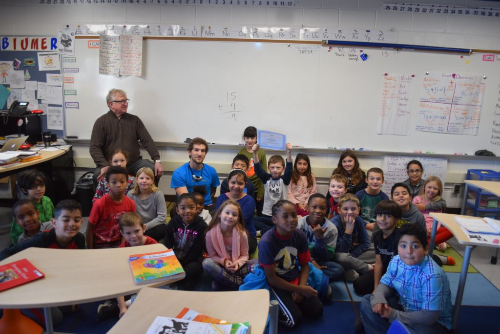 David Blumer's 3rd grade class at Allen Elementary with former Trustee Andy Thomas.