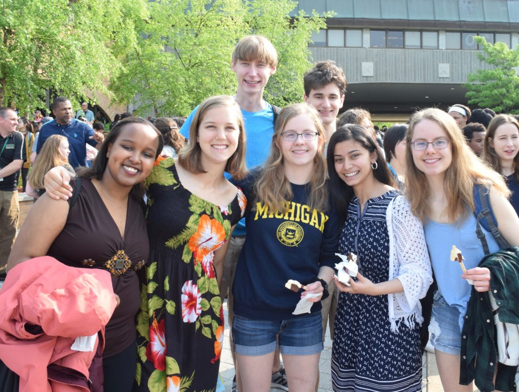 Members of Huron High School's class of 2019 celebrate being done with school