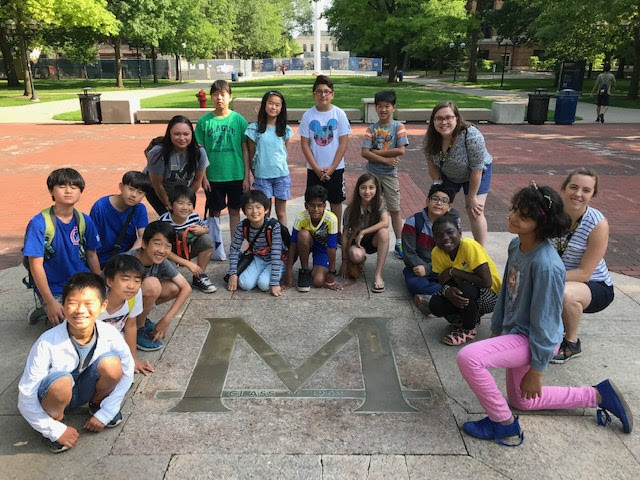 2019 SESLA students around the M on the University of Michigan Diag