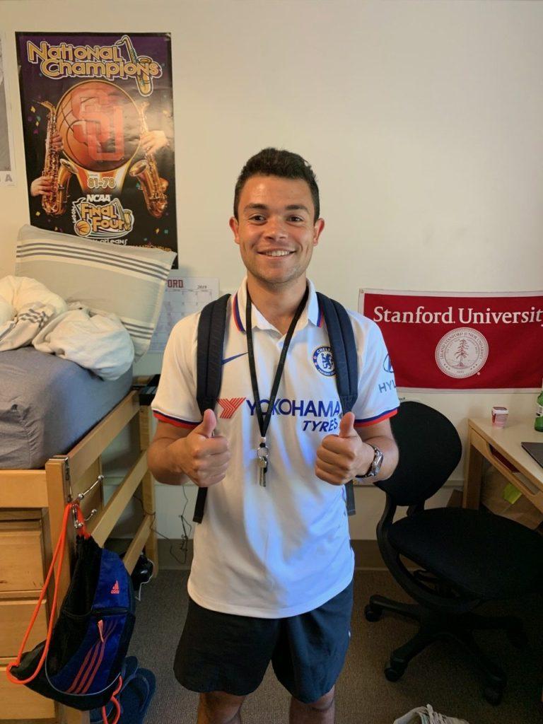 Jordan in his Stanford dorm room today.