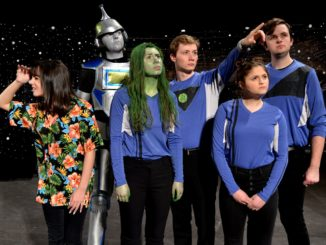 "The space-faring crew of ""Pardon My Spacehip"" (Left to right) Maggie Lareau as Activities Director Marmot, Ben Bower as ship robot RT-FL (or ""Artie), Savanna Cowley as Lt. Eudoxus, Jalen Steudle as Captain Methany, Laila Krugman as Lt. Cope, and Matt Rupp as Commander Armbruster. Photo by Lisa Gavan."