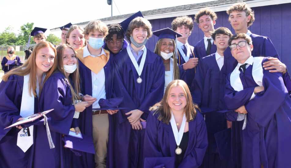 About 10 members of the Pioneer Class of 2021 before their commencement ceremony